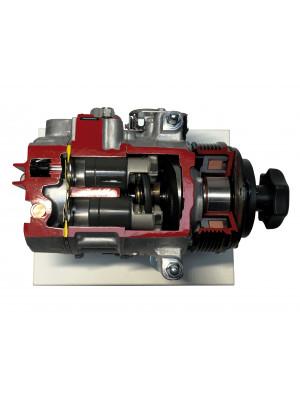 Air conditioning compressor with adjustable stroke